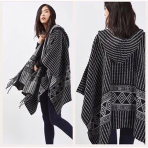 NWT Topshop Black and Gray Tassel Cape one size